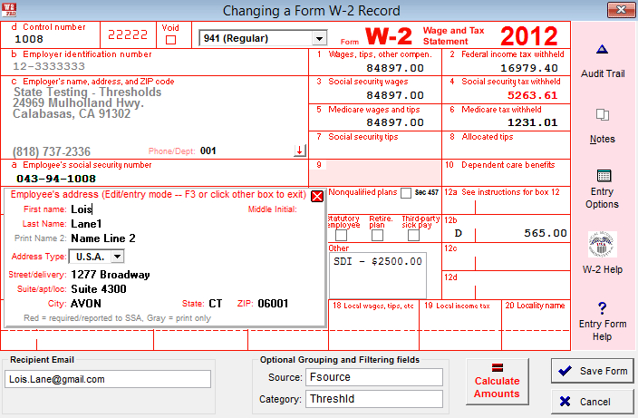 W 3 Form 2013 Fillable